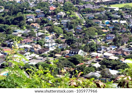 Dense residential area - stock photo