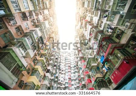 Dense residential building in Hong Kong - stock photo