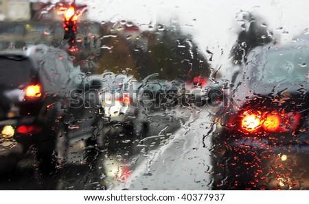 dense traffic on a rainy day - stock photo
