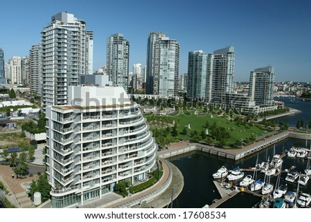 Dense Waterfront Condominium City - stock photo