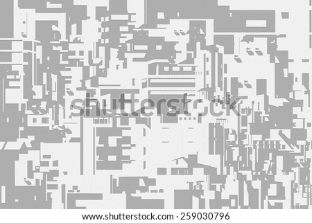 Densely built houses in the city. Architectural Chaos. illustration - stock photo