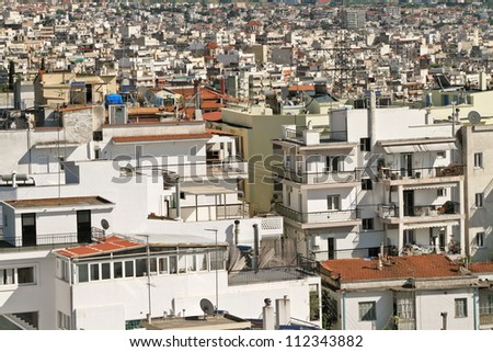 Densely populated area of Thessaloniki - Greece. - stock photo