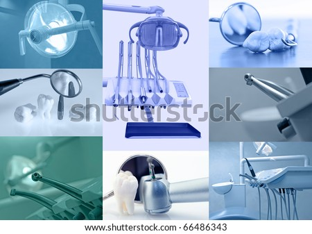 Dental background. Set of dentistry images blue tinted - stock photo