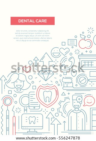 Dental care plain line design brochure stock illustration dental care plain line design brochure poster flyer presentation template a4 size layout pronofoot35fo Images