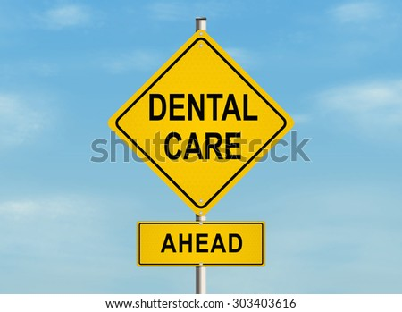 Dental care. Road sign on the sky background. Raster illustration. - stock photo