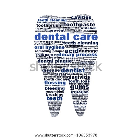 Dental care symbol as a tooth isolated on white background. Oral hygiene conceptual design