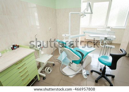 Dental Clinic Interior Design With Chair And Tools Equipment Other Accessories