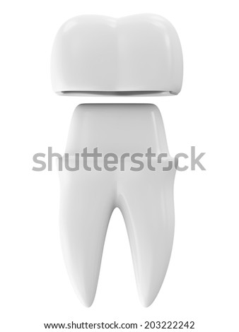 Dental Crown on a Tooth isolated on white background - stock photo