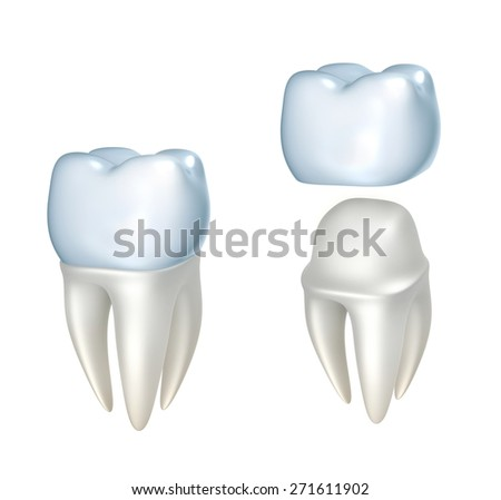 Dental crowns and tooth, isolated on white - stock photo