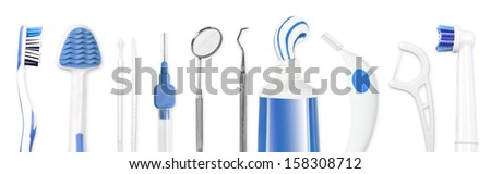Dental hygiene tools - stock photo