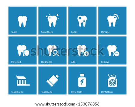 Dental icons on blue background. See also vector version. - stock photo