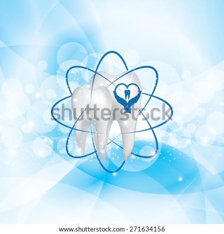 Dental illustration brochure blue design - stock photo