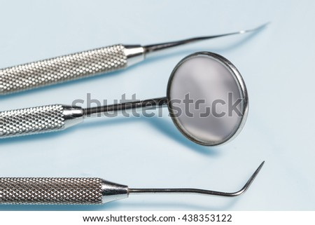Dental instruments made of steel - stock photo