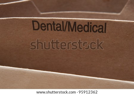 Dental Medical records file section. - stock photo