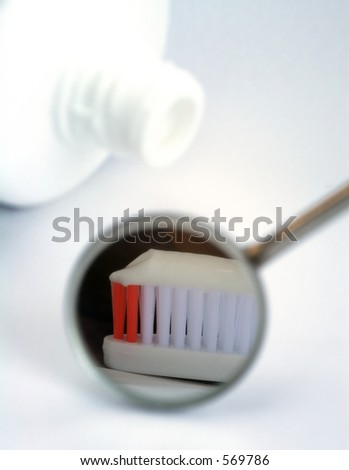 Dental mirror and tooth brush