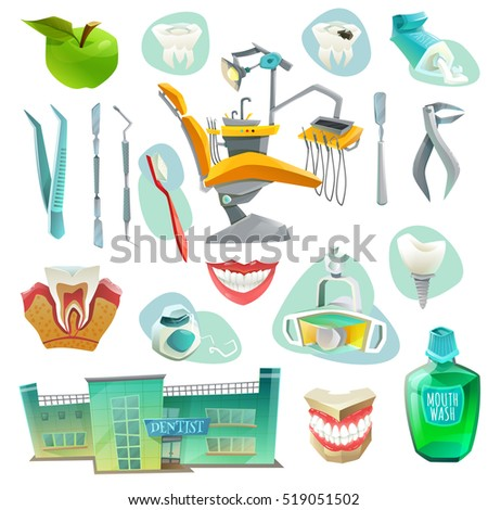 Dental office decorative icons set with workplace medical instruments objects for health of teeth isolated  illustration