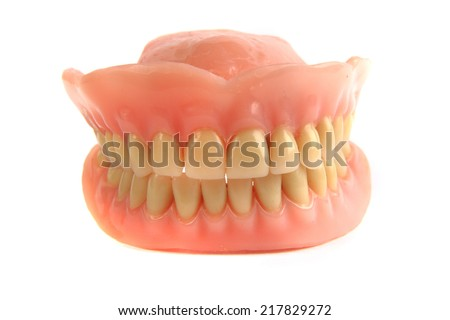 Dental prosthesis isolated - stock photo