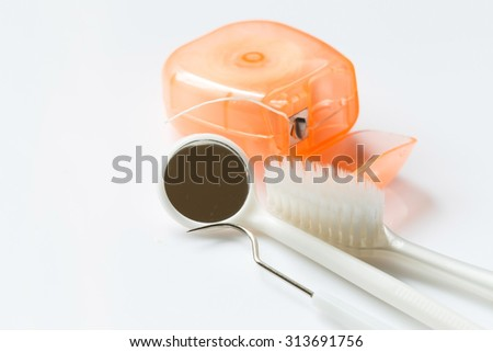 Dental tools set on white background.Medical concept.