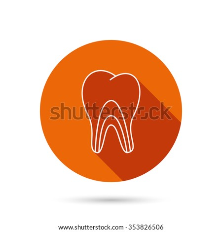 Dentinal tubules icon. Tooth medicine sign. Round orange web button with shadow. - stock photo