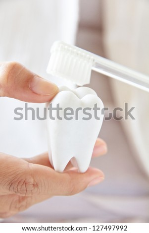 dentist holding molar with brush,dental concept - stock photo