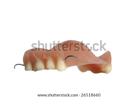 dentist's artificial limb on white background