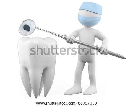 Dentist showing a cavity with a mouth mirror - stock photo