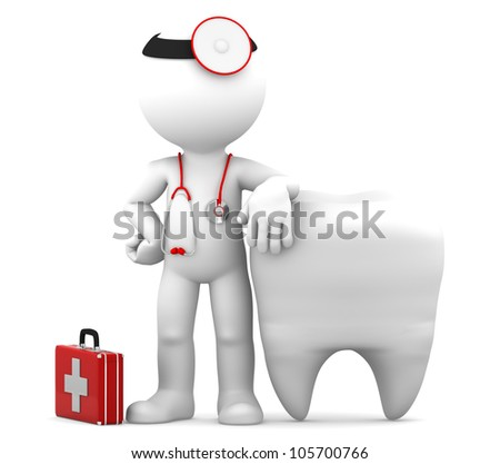 Dentist with stethoscope standing in front of big white tooth. Isolated - stock photo