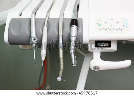 Dentists instruments in the clinic
