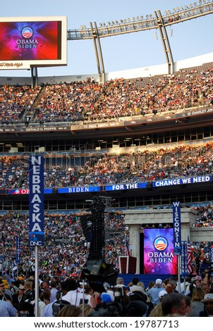 DENVER - AUG 28: Crowds celebrating the Obama-Biden ticket at the end of the Democratic party convention at Invesco Field at Mile High Stadium in Denver, Colorado, on August 28, 2008. - stock photo