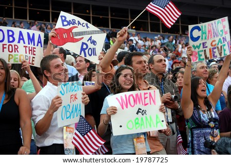 DENVER - AUG 28: Supporters of democratic presidential candidate Barack Obama holding posters at Invesco Field at Mile High Stadium on August 28, 2008 in Denver, Colorado - stock photo