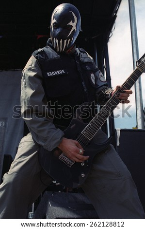 DENVER	AUGUST 22:		Guitarist Bronson of Mushroomhead performs in concert August 22, 2002 at the Pepsi Center in Denver, CO.