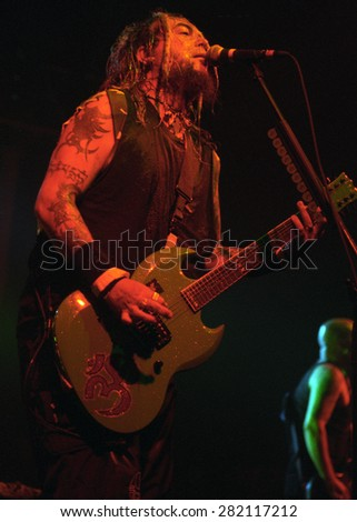 DENVER	AUGUST 8:		Max Cavalera performs August 8, 2001 at the Fillmore Auditorium in Denver, CO.