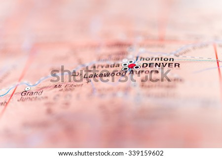 Denver close up on map, shallow depth of field. - stock photo