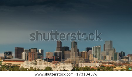 Denver, Colorado-August 4, 2011: A view of Denver, Colorado downtown right before sunset
