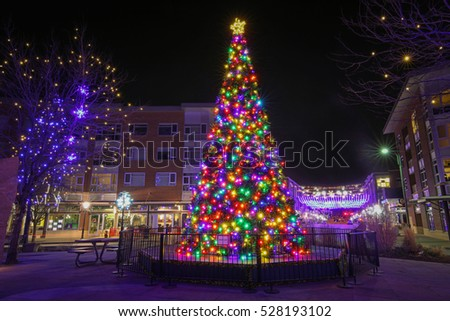 Denver, Colorado - December 02, 2016: Winter decorations in Stapleton, a neighborhood in Denver, Colorado