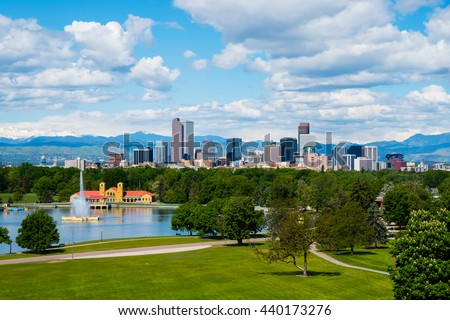 Denver Colorado downtown with City Park - stock photo