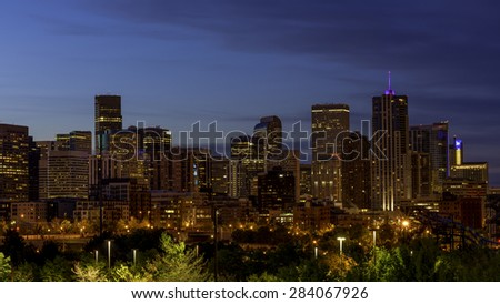 Denver Colorado in the early morning - stock photo