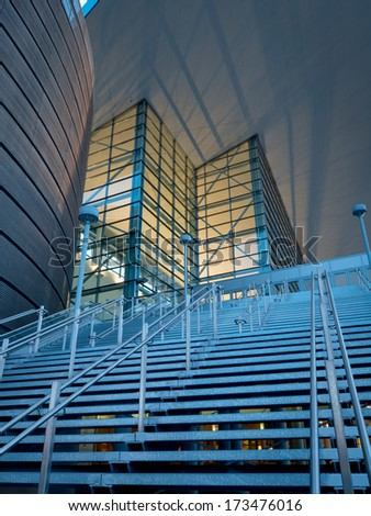 Denver, Colorado-January 29, 2012: Colorado Convention Center at blue hour.
