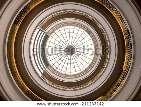 DENVER, COLORADO - JULY 24: Inner dome from the rotunda floor of the Ralph L. Carr Colorado Judicial Center on July 24, 2014 in Denver, Colorado - stock photo