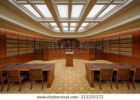 "DENVER, COLORADO - JULY 24: The ""Library"" Court of Appeals Courtroom of the Ralph L. Carr Colorado Judicial Center on July 24, 2014 in Denver, Colorado - stock photo"