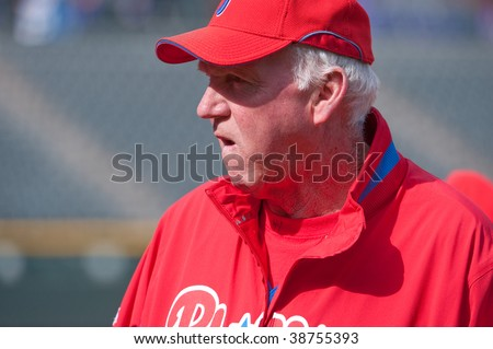 DENVER, COLORADO - OCTOBER  12:  Charlie Manuel watches his team  in game 4 of the Colorado Rockies, Philadelphia Phillies National League Division Series on October 12, 2009 in Denver Colorado.