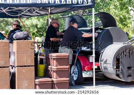 ... , USA-August 30, 2014. Smokin Brew BBQ summer festival. - stock photo