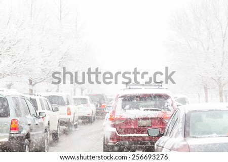 Denver, Colorado, USA-February 25, 2015. Road traffic during the snow storm. - stock photo
