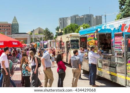 Denver Colorado USA June 9 2016 Food Trucks At The Civic