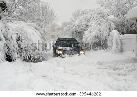 DENVER, COLORADO, USA - MARCH 23, 2016: Snow storm