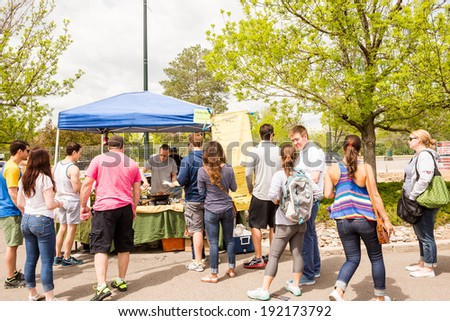 Denver, Colorado/ USA- May 10, 2014. Fresh produce at the Farmers Market in early Summer.