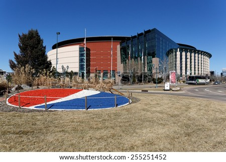 DENVER - FEBRUARY 9: Pepsi Center in Denver, Colorado on February 9, 2015. Pepsi Center is a multipurpose arena and the home of the NBA Denver Nuggets and the NHL Colorado Avalanche pro sports teams. - stock photo