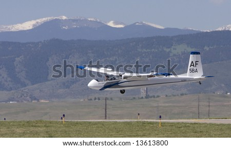 DENVER - June 7: Air Force Sailplane TG-10C lands at the Rocky Mountain Metro Airport Open House on June 7, 2008 in Denver, CO. - stock photo