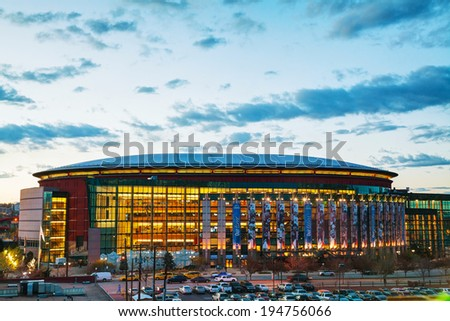 DENVER - May 1, 2014: Pepsi Center on May 1, 2014 in Denver, Colorado. It's a multi-purpose arena in Denver, Colorado, United States and named for its chief corporate sponsor, PepsiCo. - stock photo