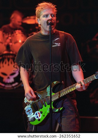 DENVER	MAY 11:		VocalistGuitarist Dexter Holland of The Offspring performs May 11, 2001 at Red Rocks Amphitheater in Denver, CO.  - stock photo